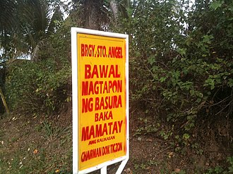 No dumping sign along the highway in the Laguna province, Philippines. Brgy. Santo Angel No Dumping Sign.jpg