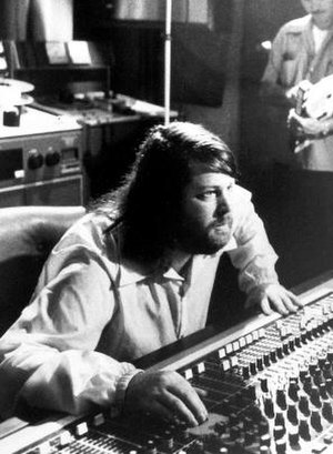 Record producer - Brian Wilson at a mixing board in Brother Studios, 1976