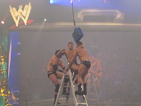 Three professional wrestlers fight on top of a ladder in the ring. A blue briefcase hangs in the air barely above them.
