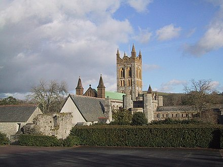 Buckfast Abbey, Devon, England, and its surrounding monastery, were rebuilt in the 20th century. Buckfast Abbey - geograph.org.uk - 932824.jpg