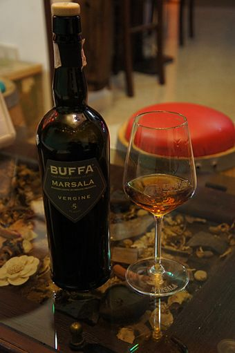 A sample of Marsala, a DOC wine produced in the city of Marsala Buffa Vergine Marsala Wine.jpg