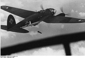 Ernst Heinkel - Heinkel 111P dropping bombs over Poland, September 1939