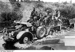 3rd SS Panzer Division Totenkopf - Motorized unit of the 3rd SS Panzer towing an anti-tank gun, 1941