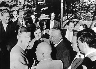 Georgy Malenkov - Malenkov among Soviet leadership speaking with Konrad Adenauer in 1955