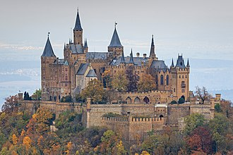 Hill castle - Hohenzollern Castle at a height of 855 m in the Swabian Jura, Germany.