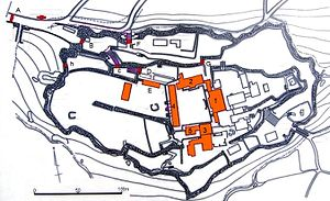 Shuri Castle - A plan of the castle: 1-Seiden 2-Hokuden 3-Nanden 4-Houshinmon 5-Bandokoro A-Shureimon B-Kankaimon C-Zuisenmon D-Roukokumon E-Koufukumon F-Kyukeimon G-Uekimon H-Kobikimon