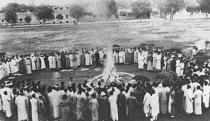Burn Japanese goods, Tsinghua School, 1919
