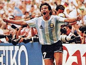 Jorge Burruchaga - Burruchaga celebrating after scoring the 3rd goal vs. West Germany at the 1986 FIFA World Cup final.