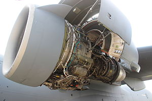 Pratt & Whitney PW2000 - C17 engine with cowlings opened