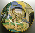C.sf., urbino, nicola da urbino, piatto con ercole e l'idra, 1525-1532 circa.JPG