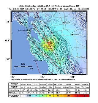 Calaveras Fault - USGS ShakeMaps showing intensity patterns for the 1984 Morgan Hill (left) and 2007 Alum Rock events