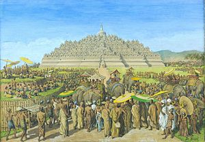 Borobudur - A painting by G.B. Hooijer (c. 1916—1919) reconstructing the scene of Borobudur during its heyday