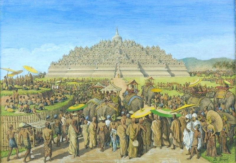 COLLECTIE TROPENMUSEUM Temperaschilderij voorstellende de Borobudur als bedevaartsoord TMnr 75-2
