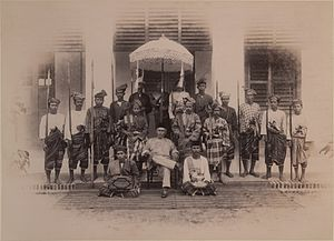 Pahang - Sultan Ahmad and his attendants circa 1897. The ruler seized the Pahang throne in 1863 after six years of civil war against his brother Tun Mutahir and his British-Johor allies. His reign marked the restoration of Pahang as a Sultanate and modernisation of the state.