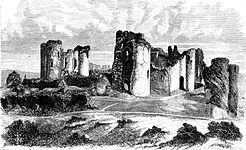 Engraving of a large ruined castle