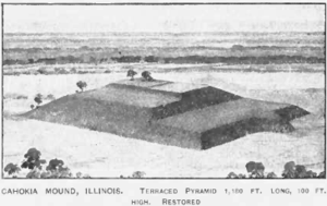Artist's Reconstruction of Monk's Mound at Cah...