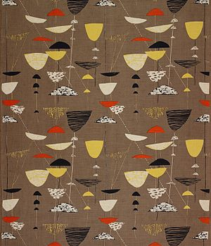 1951 in art - Image: Calyx screen printed furnishing fabric, Lucienne Day, Heal's Wholesale & Export, 1951