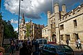 Cambridge - St Andrews Street - View NNW on Alfred Waterhouse's Bank tower 1893 & Christ's College.jpg