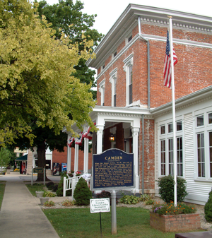 Camden, Indiana - The former Andrew Thomas House and historical marker on West Main Street is now the Jackson Township Public Library and Museum.