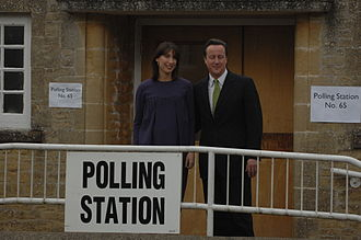 Spelsbury - David and Samantha Cameron at Spelsbury to vote in the 2010 General Election