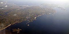 An aerial view of Cape Ann in Massachusetts