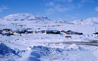 Cape Dorset - Part of the village with characteristic Kinngait hill, May 1997