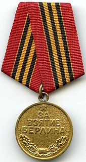 "Medal ""For the Capture of Berlin"" military decoration of the Soviet Union"