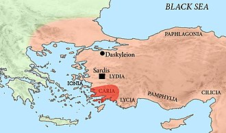 Carians - Location of Caria within the classical regions of Asia Minor