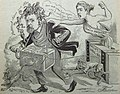 "Caricature of Francis T. Nicholls, ""Public Judgement"" and ""Ballot in April 1891"" in the The Mascot of New Orleans on 6 June 1891 (cropped).JPG"