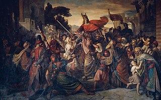 Der Empfang Manfreds (1231–1266) bei den Sarazenen in Luceria im Jahre 1254