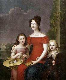 Carl Rothe: Mathilde von Württemberg mit ihren Kindern Marie und Eugen Wilhelm (Quelle: Wikimedia)