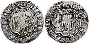 John II of Aragon and Navarre - A Sicilian–Athenian–Neopatrian carlino of John II.