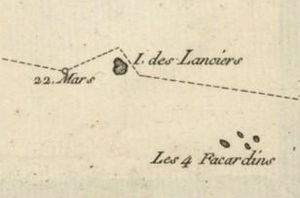 "Akiaki - The first map of Akiaki (île des Lanciers) published in 1768 by Bougainville during his voyage on March 22, 1768. ""Les 4 Facardins"" refer to Vahitahi."