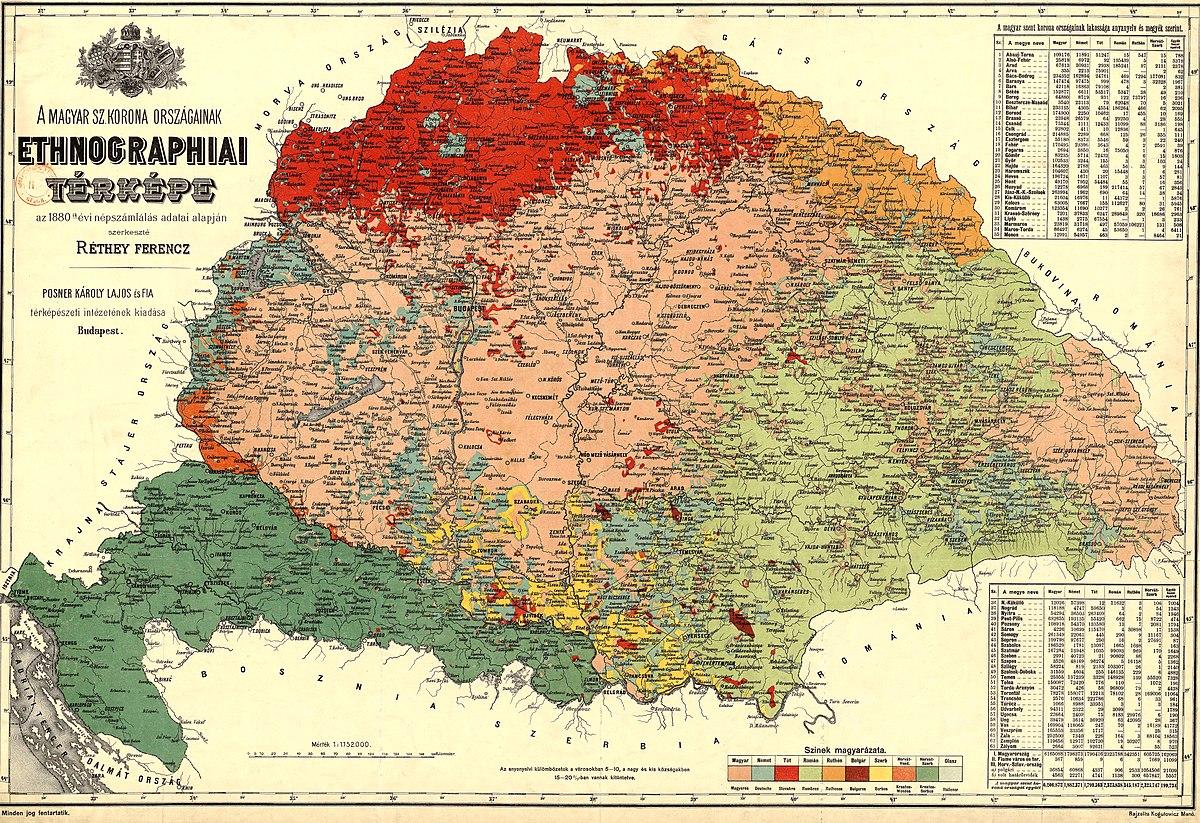 Carte ethnographique des pays de la couronne hongroise, d'après les résultats du dénombrement de la population en 1880 par François Rethey.jpg