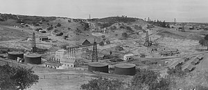 Cat Canyon Oil Field - Cat Canyon Oil Field circa 1910-1912, showing Palmer Oil Co., oil derricks, newly constructed worker housing and other facilities