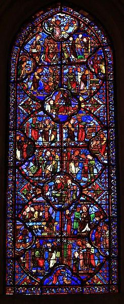 Stained glass window in Cathédrale Saint-Étienne de Bourges - The Legend of Saint Thomas