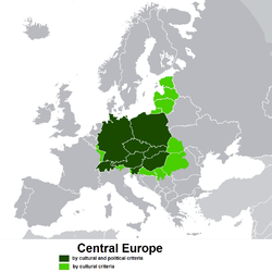 Central Europe (dark and light green), which together with Scandinavia, corresponded to the area where Fraktur was dominant in the 16th and 17th centuries