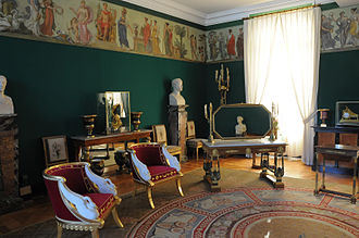 Neoclassical architecture - Château de Malmaison, 1800, room for the Empress Joséphine, on the cusp between Directoire style and Empire style