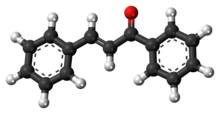 Ball-and-stick model of the chalcone molecule