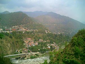 Chamba, Himachal Pradesh - Chamba town from across the river