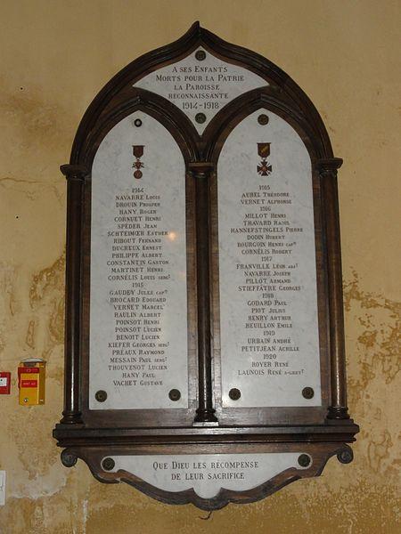 Chamouilley (Haute-Marne) église, plaque monument aux morts