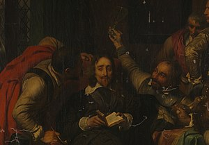 Insult - A portion of Hippolyte Delaroche's 1836 oil painting Charles I Insulted by Cromwell's Soldiers