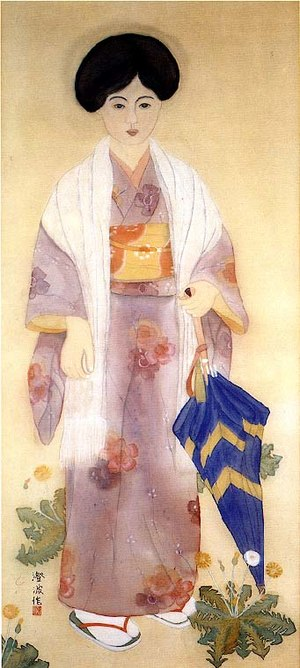 Tabi - Woman in early Showa-period clothing wearing tabi; note the red cloth thong between the big toe and other toes.