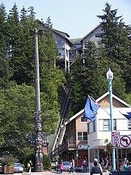 Chief Johnson totem pole replica in Ketchikan, Alaska 2.jpg