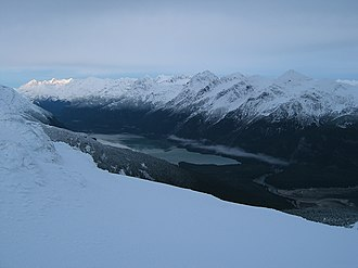 Chilkoot Lake - Looking up the Chilkoot River valley and at Chilkoot Lake from the Takshanuk Mountains