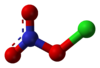 Ball and stick model of chlorine nitrate