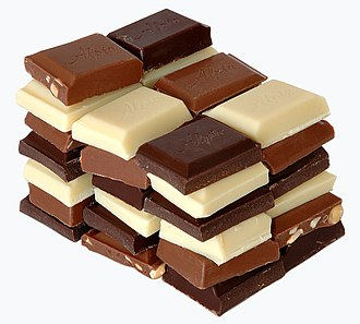 Chocolate - Chocolate most commonly comes in dark, milk, and white varieties.