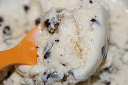 Chocolate chip cookie dough ice cream with orange spoon.jpg