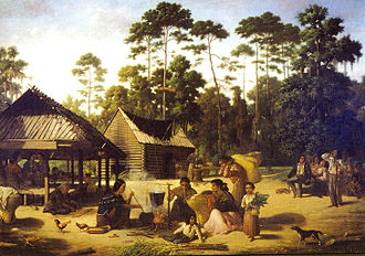 Choctaw - Choctaw Village near the Chefuncte, by Francois Bernard, 1869, Peabody Museum – Harvard University. The women are preparing dye to color cane strips for making baskets.