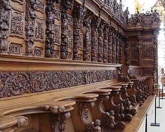 Saint Urban's Abbey - Ornate choir pews in the Abbey